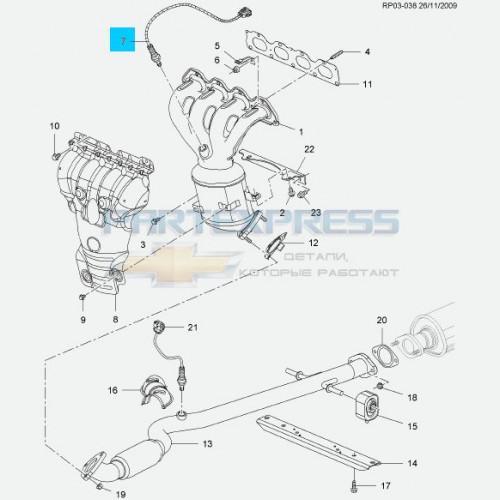 Датчик кислородный верхний 1.6-1.8 LDE
