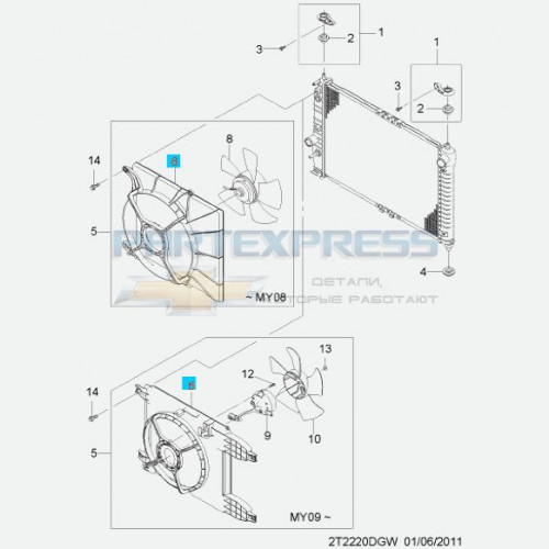 Дифузор вентилятора охлаждения 1.4 (16 клапанные)