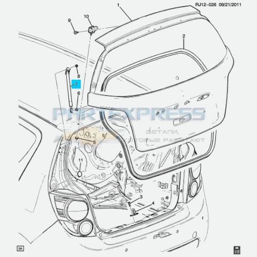 Амортизатор крышки багажника левый
