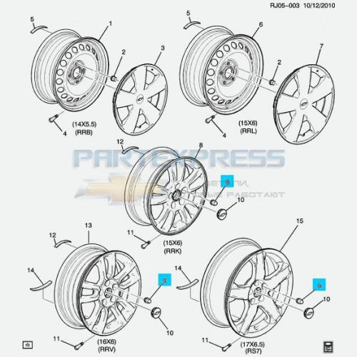 Гайка литого диска колеса