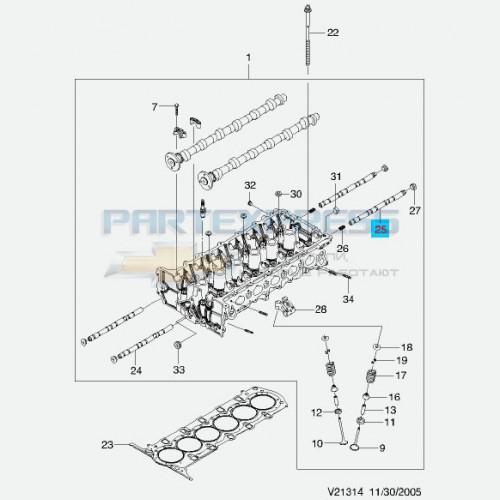 Вал промежуточный клапанов задний 2.0, 2.5
