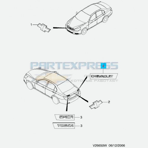 Эмблема на крышку багажника CHEVROLET