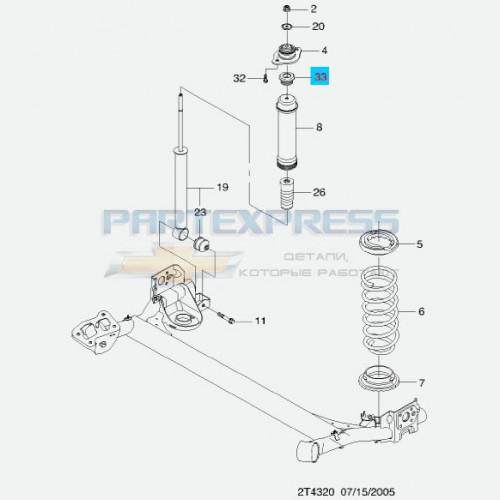 Втулка (отбойник) заднего амортизатора Aveo T255