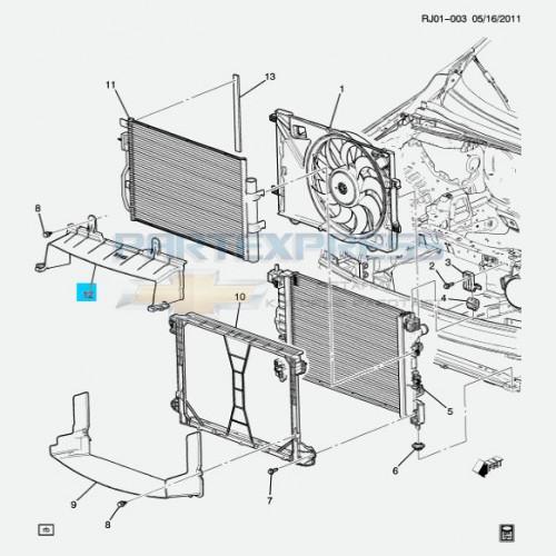 Воздухозаборник радиатора верхний 1.6